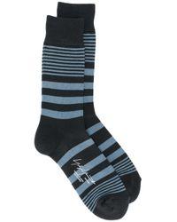 Chaussettes rayées Yohji Yamamoto pour homme en coloris Blue
