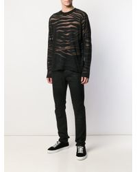 メンズ Roberto Cavalli ゼブラ セーター Black