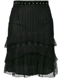 Just Cavalli Black Eyelet Ruffled Skirt