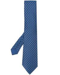 Cravate imprimée Hermès pour homme en coloris Blue