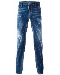 DSquared² Blue Slim Distressed Jeans for men