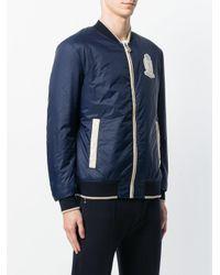 Billionaire Blue Chest Patch Bomber Jacket for men