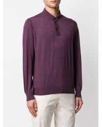 メンズ Brunello Cucinelli ロングスリーブ プルオーバー Purple