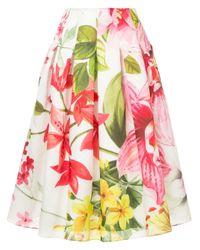 Falda midi con motivo de loto Bambah de color White