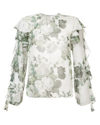 Robert Rodriguez White Floral Frill Blouse