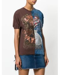 Night Market Brown Beaded Embroidery T-shirt