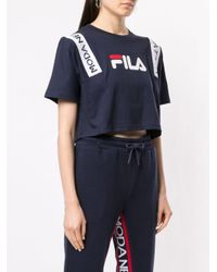 T-shirt crop à logo Fila en coloris Blue
