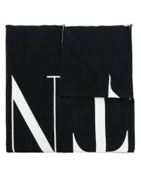 Valentino Black Vltn Logo Scarf for men