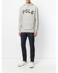 Polo Ralph Lauren - Gray Embroidered Hooded Sweatshirt for Men - Lyst
