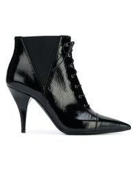Casadei Black Lace-up Ankle Boots