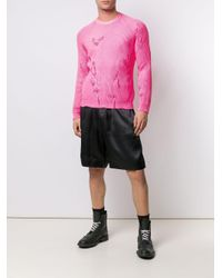 Laneus Gerafelde Trui in het Pink voor heren