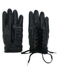 KTZ Black Lace-up Biker Gloves