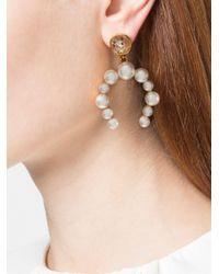 Oscar de la Renta White Crystal Pearl Earrings
