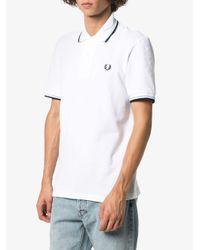 メンズ Fred Perry ストライプトリム ポロシャツ White