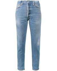 Re/done - Blue High-rise Cropped Jeans - Lyst