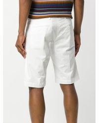 Entre Amis - White Creased Bermuda Shorts for Men - Lyst