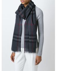 Burberry - Gray Checked Scarf - Lyst