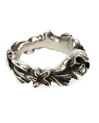 Werkstatt:münchen Metallic Floral Skull Ring