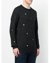 Dondup Black Distressed Metallic Knit Pullover for men