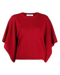 Valentino Red Fine-knit Short-sleeve Top