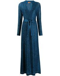 Robe longue en maille métallisée Missoni en coloris Blue