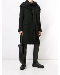 Rick Owens Black Knitted Frayed Scarf