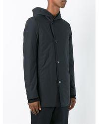 Stephan Schneider Black Asymmetric Hooded Coat for men
