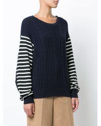 Y's Yohji Yamamoto Blue Cable Knit Striped Jumper