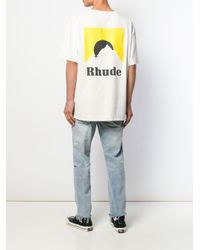 T-shirt con logo di Rhude in White da Uomo