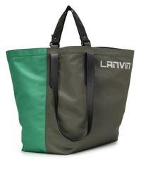 メンズ Lanvin バイカラー ハンドバッグ Green