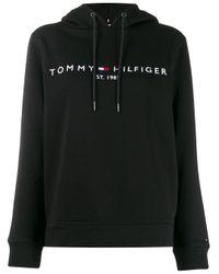 Tommy Hilfiger Black Kapuzenpullover mit Logo-Stickerei
