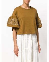 See By Chloé Brown Ruffled Sleeve Top