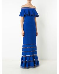 Tadashi Shoji Blue Off-shoulders Ribbed Gown