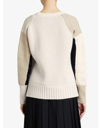 Burberry - Natural Contrast Knit Sweater - Lyst