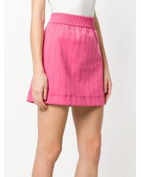 Valentino Pink Contrast Stitching Mini Skirt