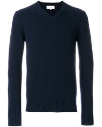 Officine Generale - Blue V-neck Jumper for Men - Lyst
