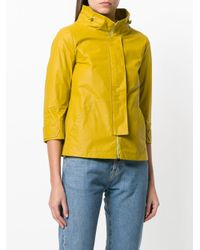 Herno Yellow Funnel Neck Cropped Jacket