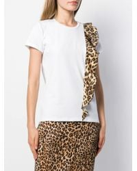 Leopard panel T-shirt Liu Jo en coloris White