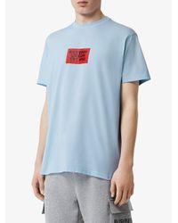 T-shirt à logo imprimé Burberry pour homme en coloris White