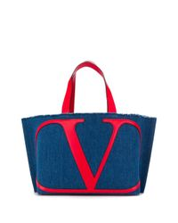 Valentino Garavani Vロゴ デニム ハンドバッグ Multicolor
