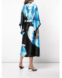 Josie Natori Blue Printed Belted Midi Coat