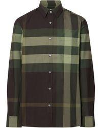 Burberry Geruit Overhemd in het Green voor heren