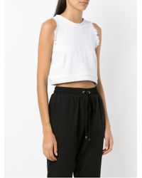 Olympiah White Distressed Cropped Top
