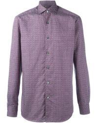 Ermenegildo Zegna Pink Floral Diamond Pattern Shirt for men