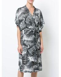 Fleur du Mal - Black Palm Print Belted Robe - Lyst