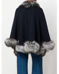 N.Peal Cashmere Blue Fur Trimmed Cashmere Cape