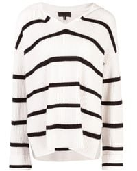 Nili Lotan White Striped Cashmere Knit Sweater