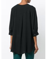 Theory - Black Open Neck Blouse - Lyst