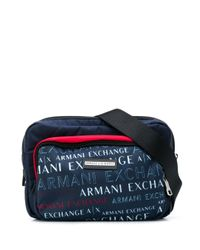 メンズ Armani Exchange ロゴ ベルトバッグ Blue