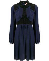 N°21 コーデュロイパネル シャツドレス Blue